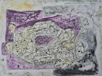 Gedankengut II, 26,5 x 36 cm, Mischtechnik auf Papier, 2009
