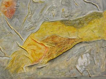 Hülle, 76 x 96 cm, MIschtechnik auf Leinen auf Leinwand, 2006