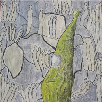 Legato V, 100 x 100 cm, Mischtechnik auf Leinen auf Leinwand, 2007