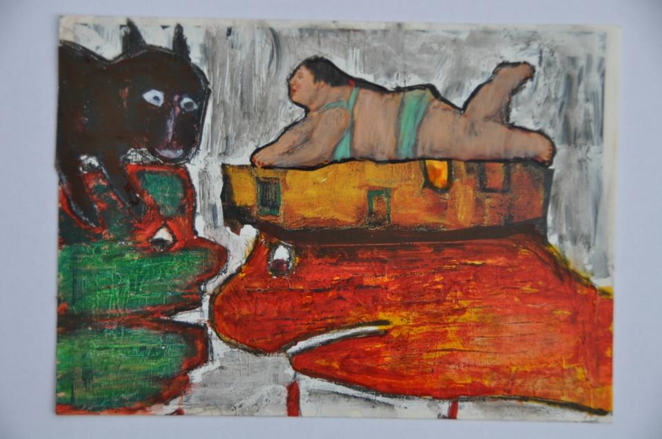 Nr. 18, 10,5 x 14,8 cm, Mischtechnik auf Pappe, 2011